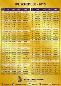 IPL 8 Schedule